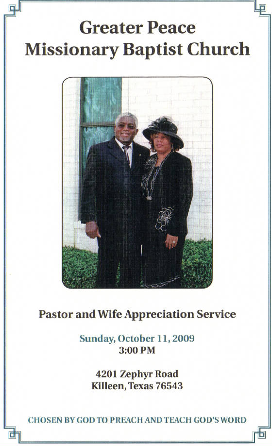 pastor and wife appreciation program 2009